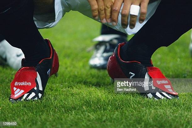 A closeup of David Beckham of Manchester United boots during the PreSeason Amsterdam Tournament match between Ajax and Manchester United played at...