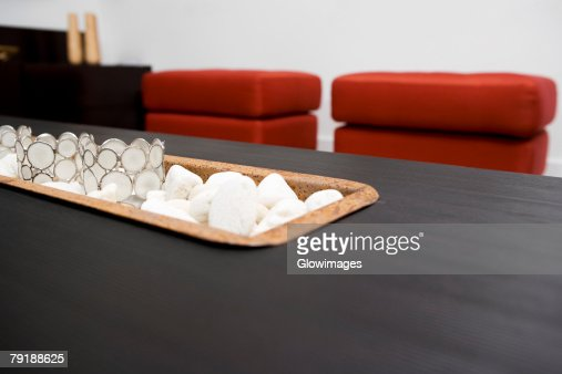 Close-up of decorative glasses on pebbles : Stock Photo
