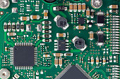 Closeup of details on a circuit board