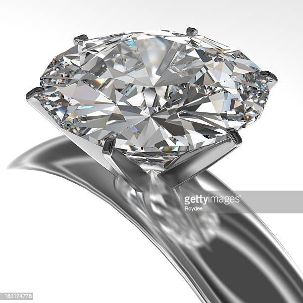 Close-up of diamond ring isolated on white background