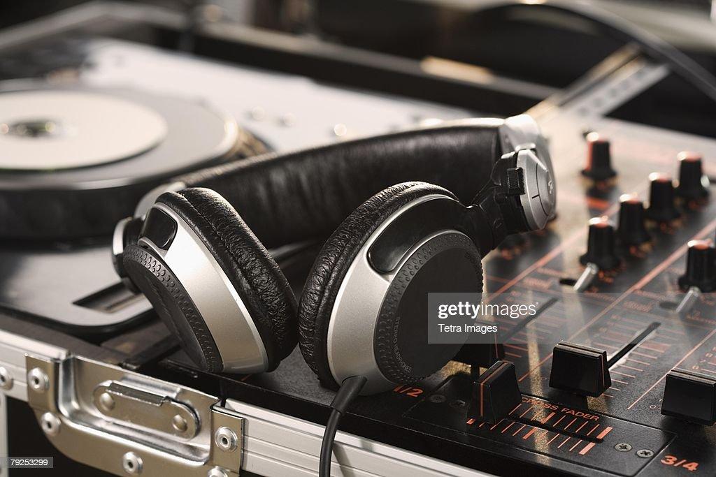 Closeup of DJ equipment