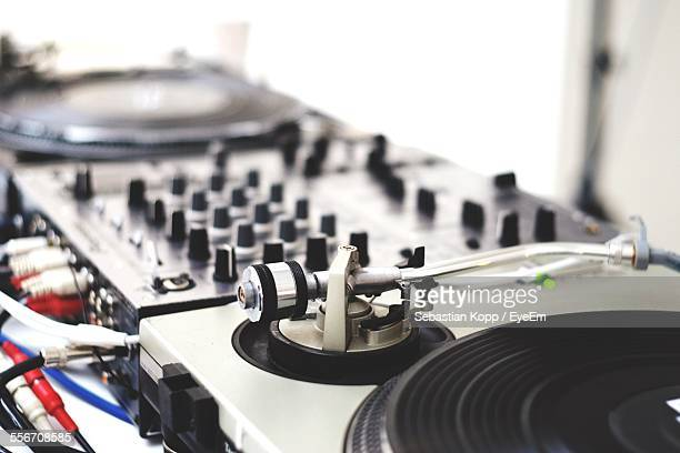 Close-Up Of Dj Turntable At Nightclub
