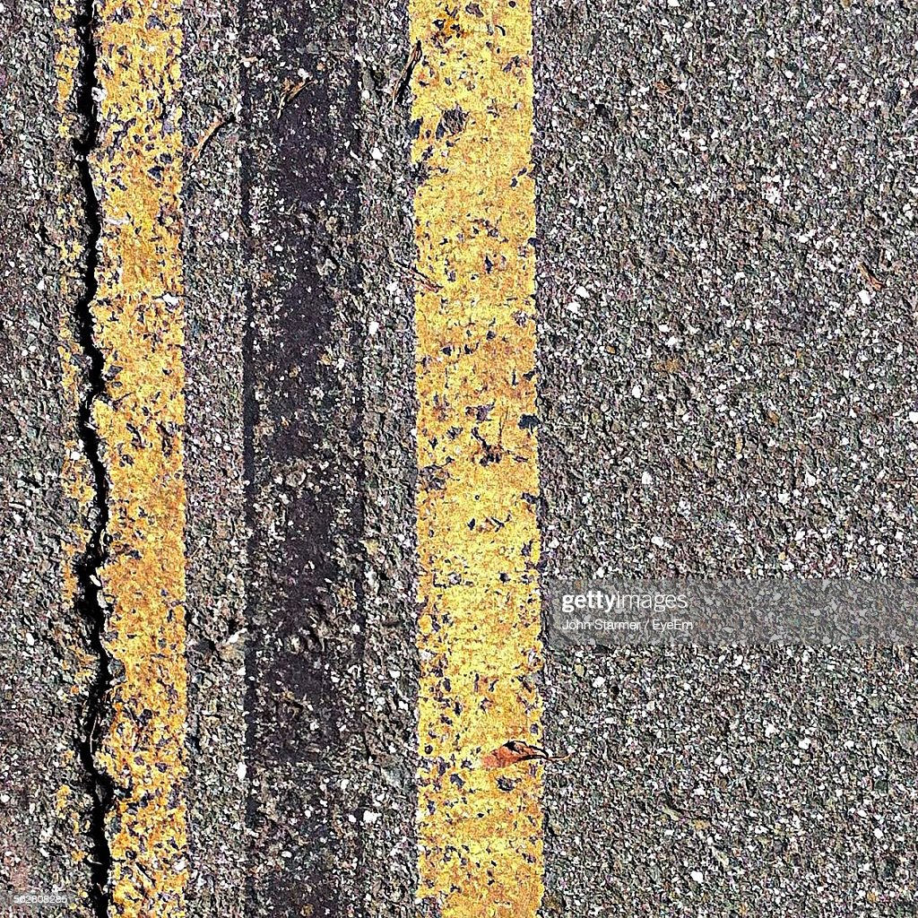 Close-Up Of Double Yellow Line