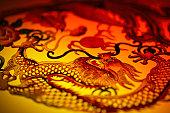 Close-up of dragon stencil