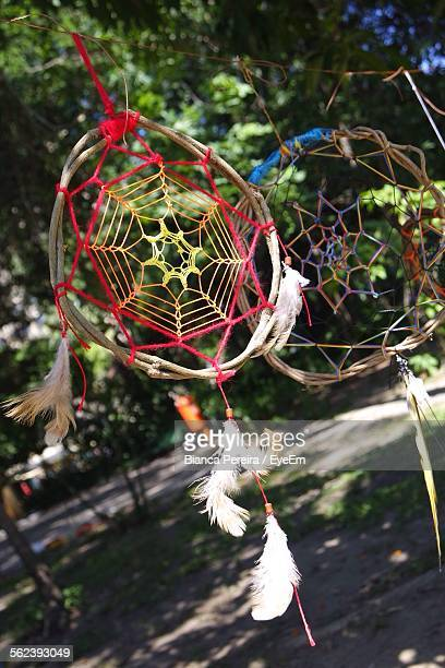 Close-Up Of Dream Catcher Hanging Outdoors