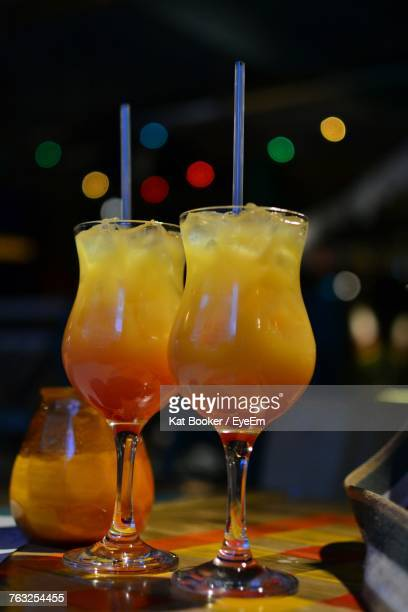 Close-Up Of Drinks On Table At Bar