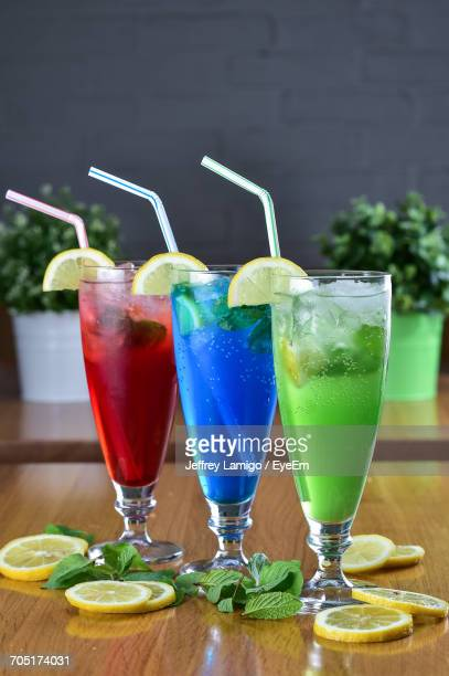 Close-Up Of Drinks Served On Table