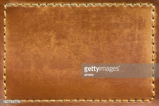 Closeup of dry leather jeans label