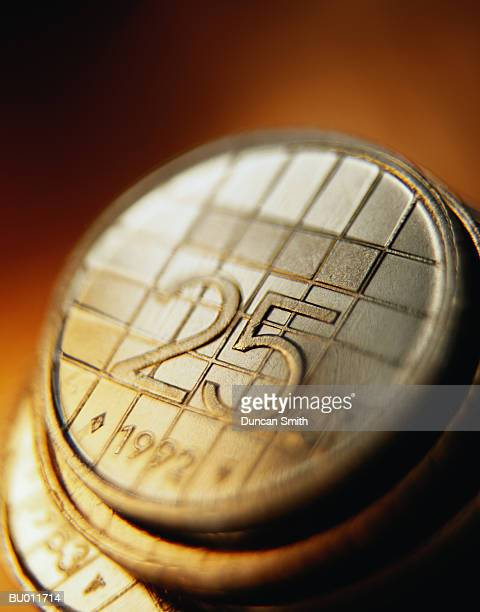 Close-up of Dutch Coins