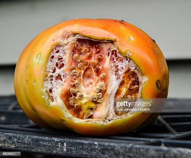 Close-Up Of Eaten Tomato On Table