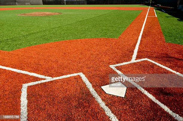 Closeup of empty baseball field