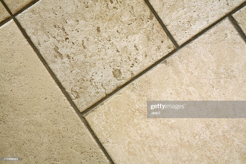 Close Up Of Empty Ceramic Italian Floor Tiles, Diagonal : Stock Photo