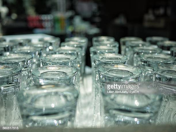 Close-Up Of Empty Drinking Glasses