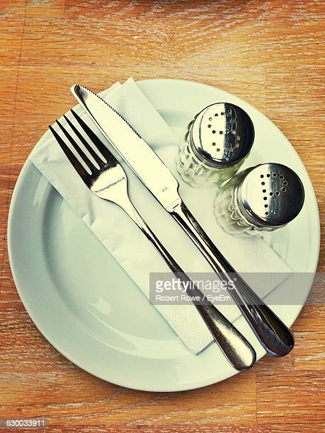 Close-Up Of Empty Plate On Table