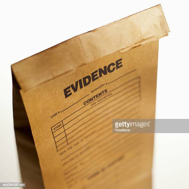 Close-up of evidence bag