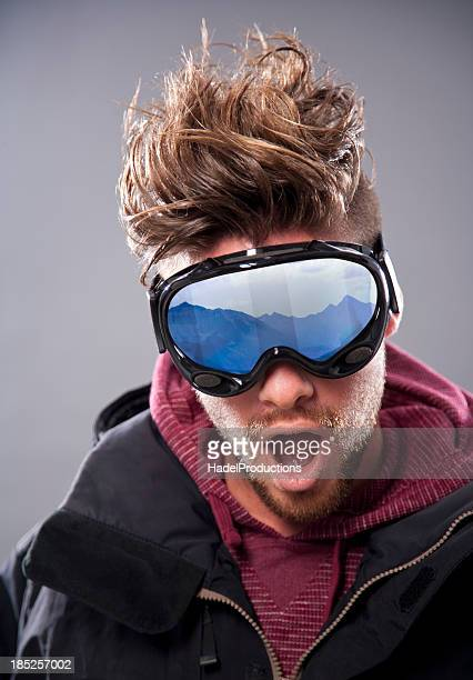 Closeup of Excited Skier with Goggles
