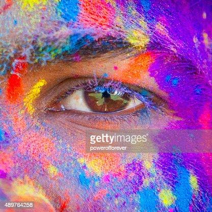 Close-up of Eye at Holi Festival
