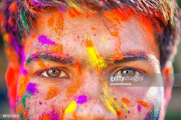 Close-up of Eyes at Holi Festival