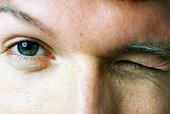 Closeup of eyes winking