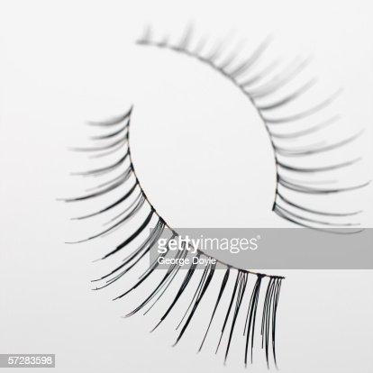Close-up of fake eyelashes