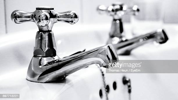 Close-Up Of Faucet On Sink