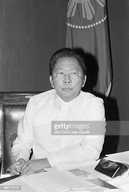 Closeup Of Ferdinand And Imelda Marcos Philippines 24 janvier 1982 portrait du Président Ferdinand MARCOS dans son bureau du Palais présidentiel de...