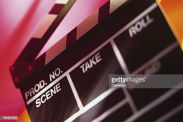 Close-up of film clapper