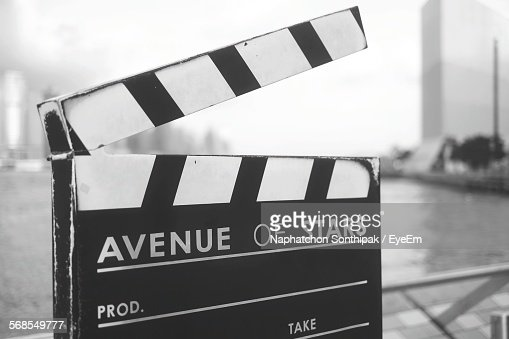 Close-Up Of Film Slate Against River
