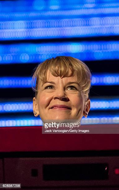 Closeup of Finnish conductor Susanna Malkki in the orchestra pit as she smiles during the final dress rehearsal prior to the premiere of Robert...