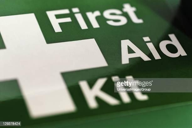 Closeup of first Aid Kit sign UK