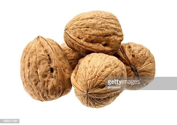 Close-up of five shelled walnuts over a white background