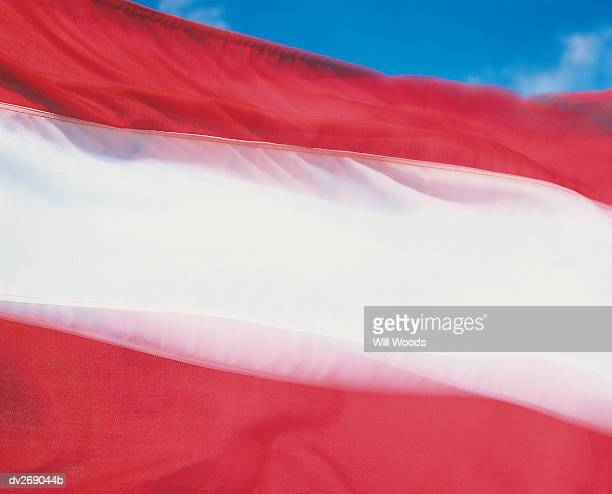Closeup of flag of Austria