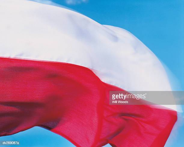 Closeup of flag of Poland