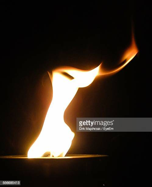 Close-Up Of Flame Of Oil Lamp