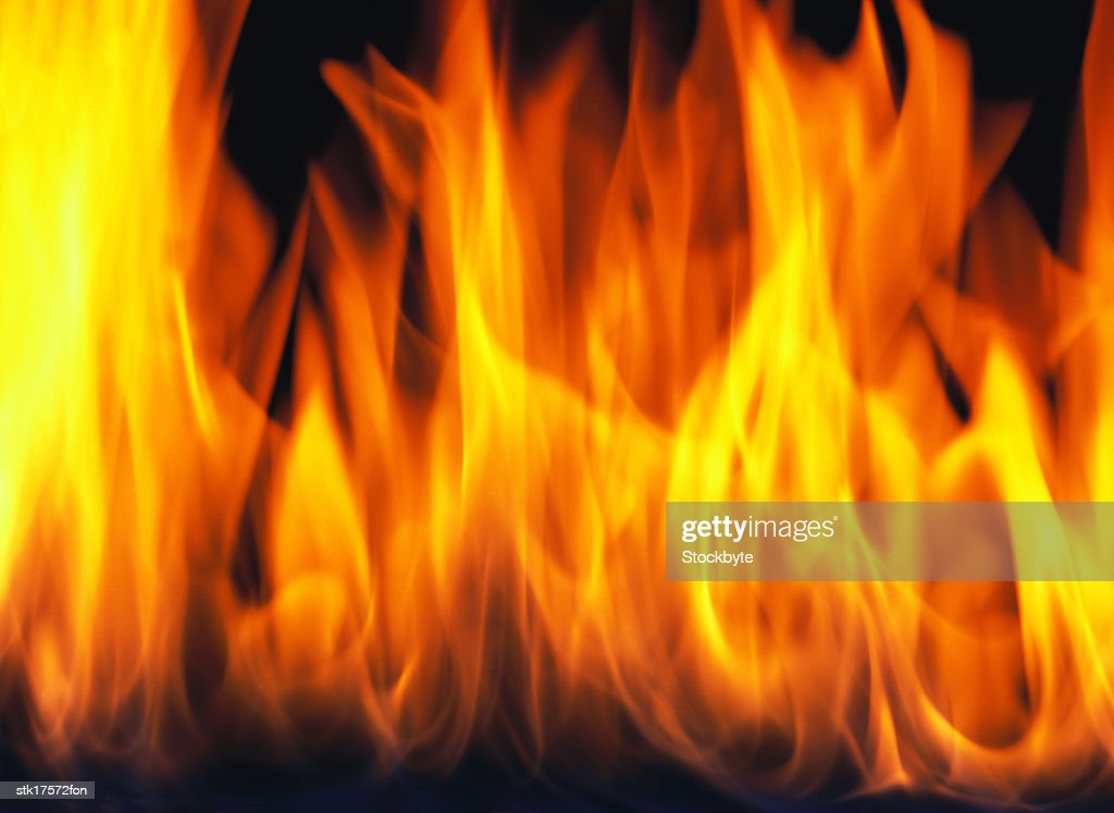 close-up of flames from a fire rising : Stock Photo