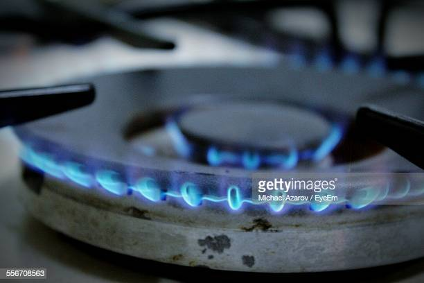 Close-Up Of Flames In Gas Stove Burner