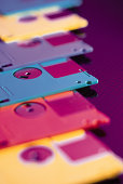 Close-up of floppy discs