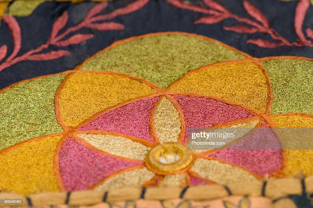 Close-up of floral patterned embroidery on a fabric : Stock Photo