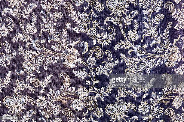 Close-up of floral patterns on textile