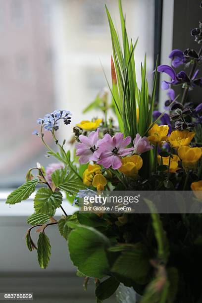 Close-Up Of Flower Bouquet By Window