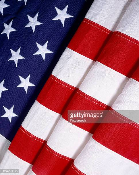Close-up of folded American flag