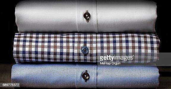 Close-up of Folded Men's Shirts : Stock Photo