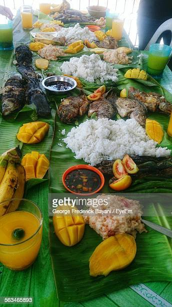 Close-Up Of Food Served On Banana Leaves