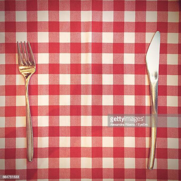 Close-Up Of Fork And Table Knife On Table