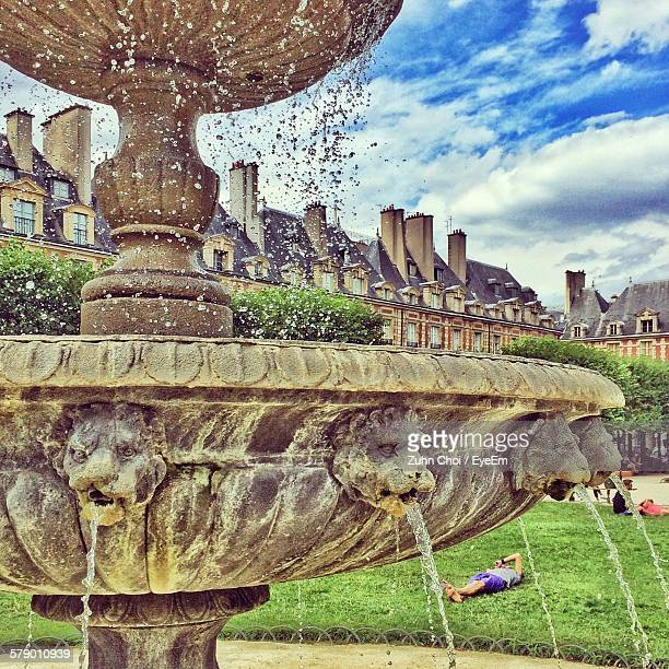 Close-Up Of Fountain At Place Des Vosges