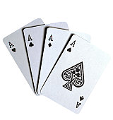 close-up of four aces from a deck of playing cards