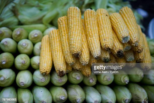Close-Up Of Fresh Corns For Sale In Market