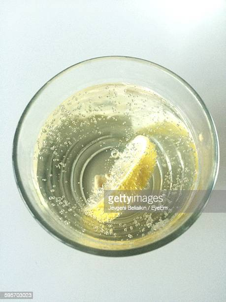 Close-Up Of Fresh Drink With Lemon Slice