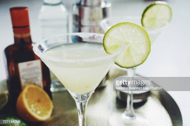 Close-Up Of Fresh Margaritas In Tray