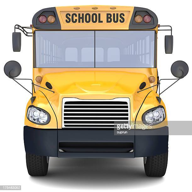 Close-up of front of yellow school bus on white background